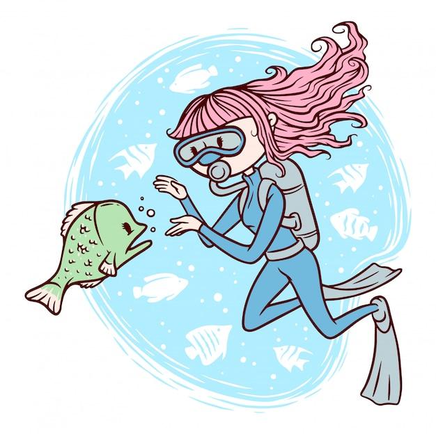 Милая девушка дайвинг под морской иллюстрацией