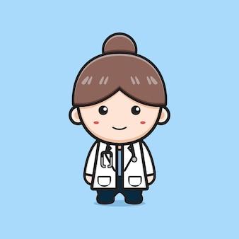 かわいい女の子の医者の漫画のアイコンのイラスト。孤立したフラット漫画スタイルをデザインする