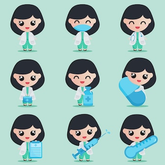 Cute girl doctor character with medical elements in set bundle