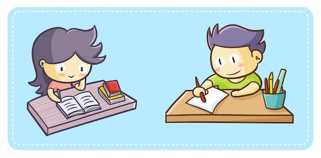 숙제를 하 고 귀여운 소녀와 소년 뭔가 그리기 시작