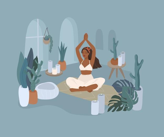 Милая девушка делает позы йоги. образ жизни молодой женщины в домашнем интерьере с домашними растениями. иллюстрации шаржа
