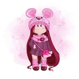 Cute girl doll with long hair in a knitted hat with mouse ears and a pink handbag.