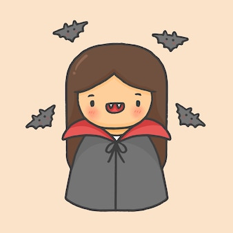 Cute girl dracula halloween hand drawn cartoon style vector
