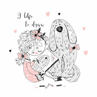 Симпатичная девочка рисует своего питомца большую собаку
