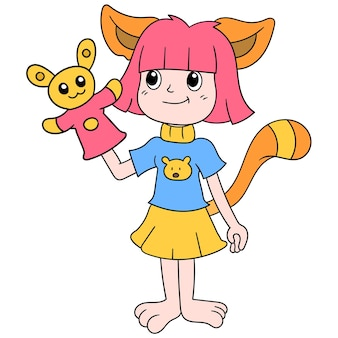 Cute girl dress up cat playing with doll, vector illustration art. doodle icon image kawaii.