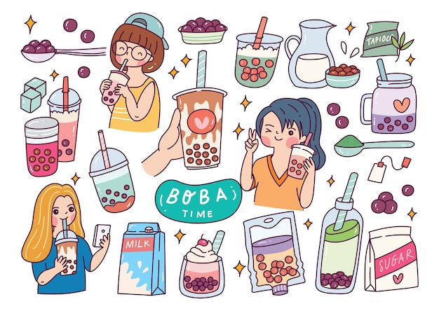 Cute girl drink boba
