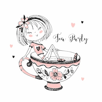 Cute girl drinking tea. tea party.  doodle style.