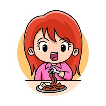 Милая девушка ест лапшу мультфильм