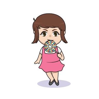 ロリポップのキャラクターを食べるかわいい女の子