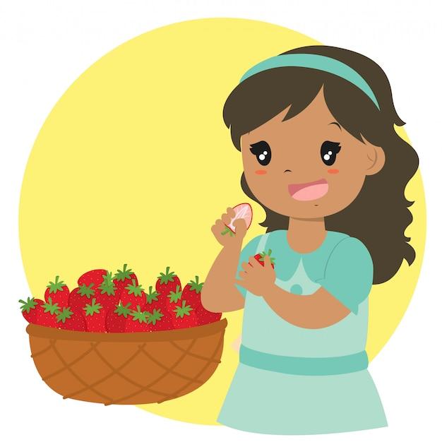 Cute girl eating strawberries vector