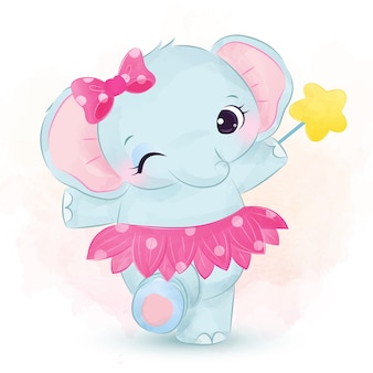 ピンクのスカートと踊るかわいい女の子象