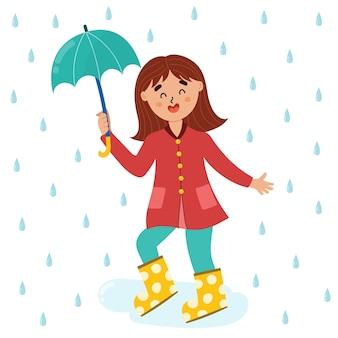 Cute girl enjoying the rain in rubber boots