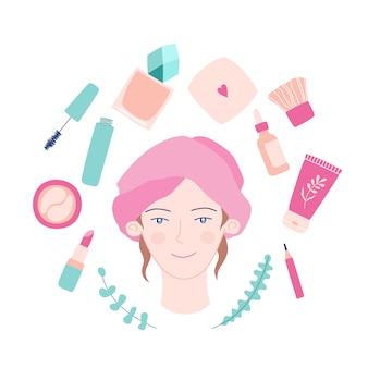 かわいい女の子、フェイシャル、美容化粧品。
