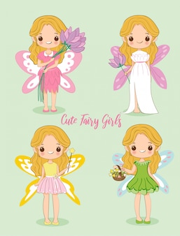 Cute girl in fairy dress cartoon