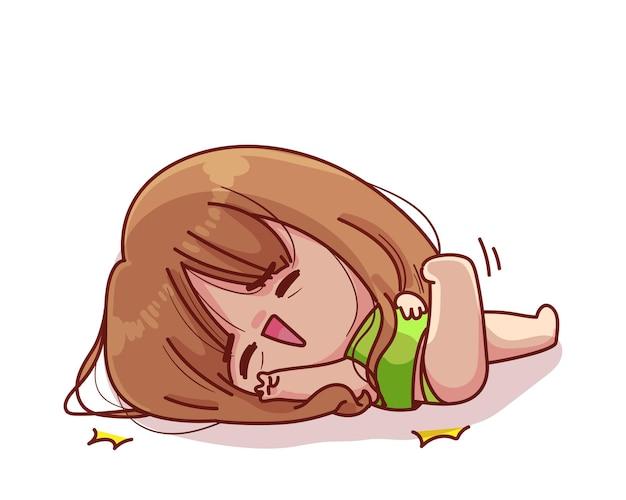 Милая девушка падает вниз иллюстрации шаржа