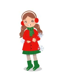 冬の寒さを感じるかわいい女の子。子供たちのクリップアート。