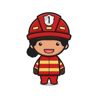 かわいい女の子消防士漫画アイコンベクトルイラスト。孤立したフラット漫画スタイルをデザインする