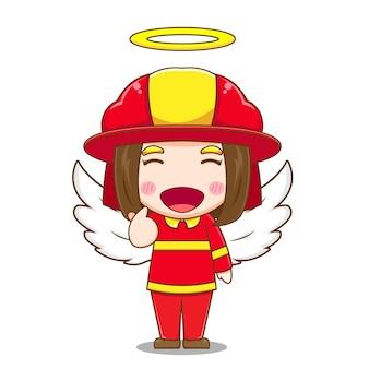 天使としてのかわいい女の子の消防士のキャラクター