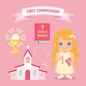 Cute girl first communion event