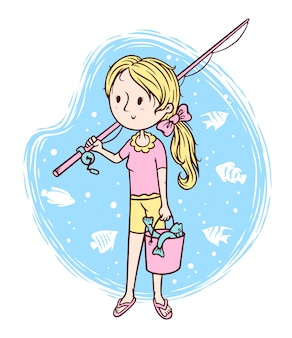 Cute girl and fish illustration