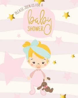 ベビーシャワー招待状のデザインテンプレートのためのかわいい女の子