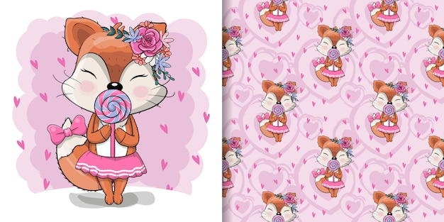 Cute girl fox with sweet candy and flowers illustration for kids