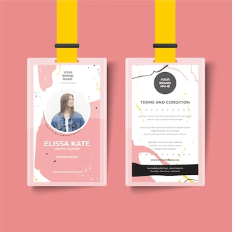 Cute girl front and back id card template