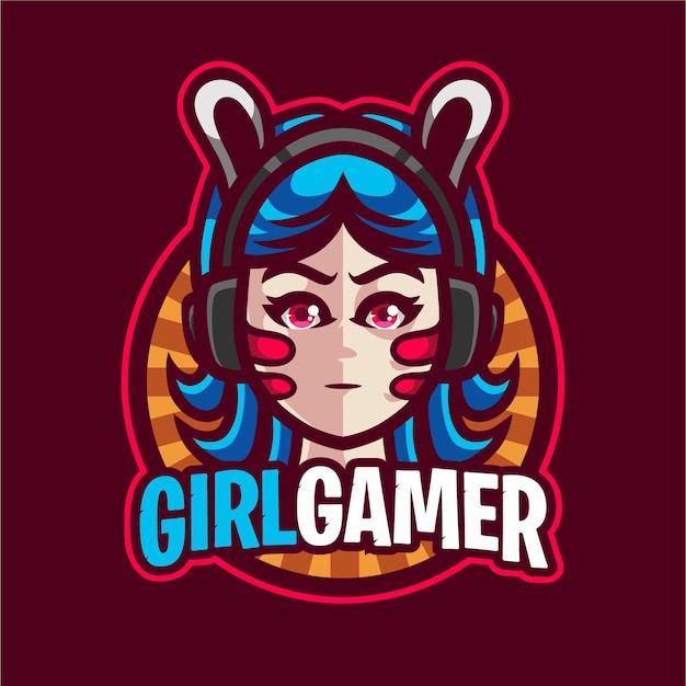 Cute girl gamer mascot gaming logo