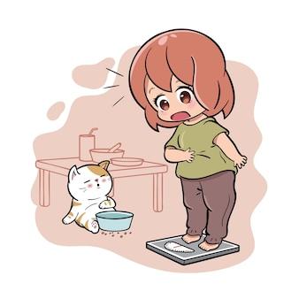 귀여운 소녀는 식사 후 체중을 측정 할 때 충격을받습니다.