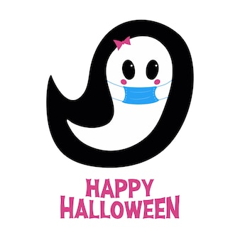 Cute girl ghost in blue medical mask with pink blush bow and happy halloween