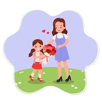 かわいい女の子は贈り物として彼女の母親にバラの花束を与える幸せな母の日のコンセプト白で隔離フラット