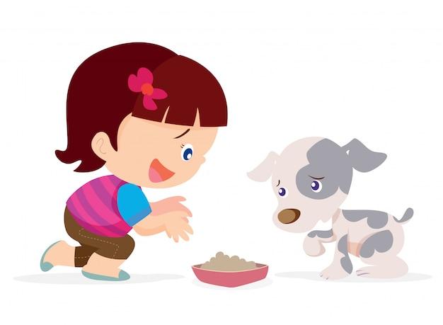 Cute girl give food dog