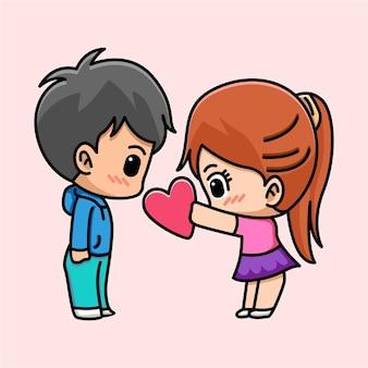 かわいい女の子は彼女のボーイフレンドの漫画イラストに心を与える