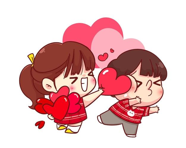 La ragazza carina dà il suo cuore al suo fidanzato, buon san valentino, illustrazione del personaggio dei cartoni animati
