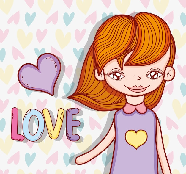 Cute girl hairstyle with heart and love message