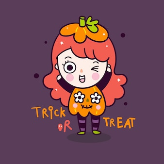 Cute girl halloween cartoon wear pumpkin costume doodle style