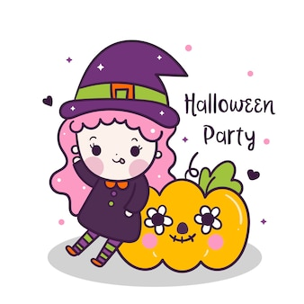 Cute girl halloween and pumpkin vector