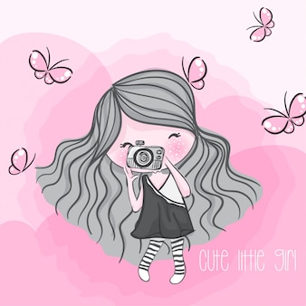 Cute girl hand drawn illustration