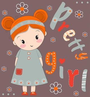 Cute girl hand drawn vector illustration