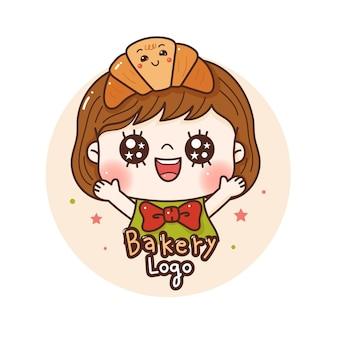 빵집을 위한 크루아상 로고에 만족하는 귀여운 소녀