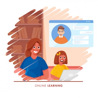 Cute girl having online learning from laptop at home and young woman written book on abstract background for stop coronavirus.