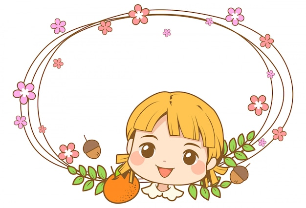 Cute girl head character with flower vine frame