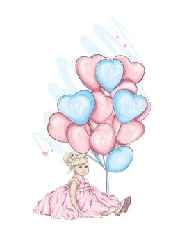 Cute girl and heart balloons