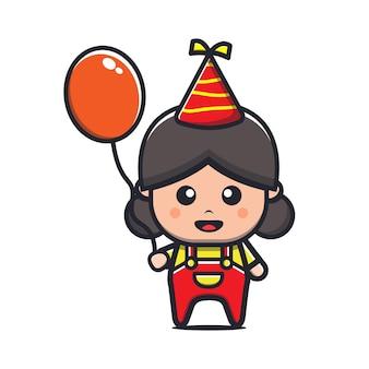 かわいい女の子がパーティー漫画イラストで風船を保持します。