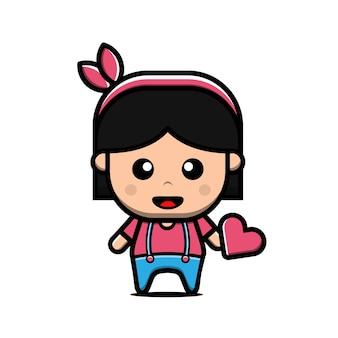 かわいい女の子がハートの漫画イラスト、バレンタインコンセプトを保持します