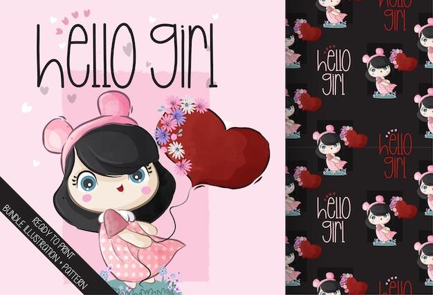 Милая девушка держит воздушный шар любви с бесшовные модели