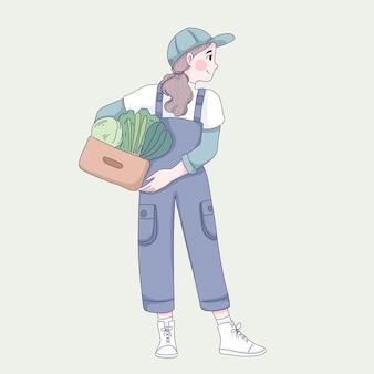 かわいい女の子は野菜のイラストを保持します