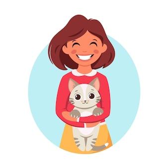 Милая девушка держит в руках кошку Premium векторы