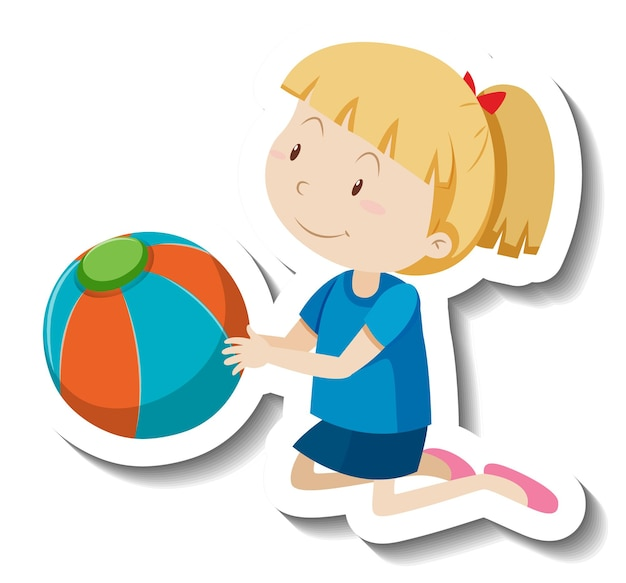 Милая девушка держит пляжный мяч мультяшный стикер