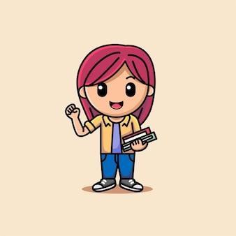 手で本を持っているかわいい女の子漫画イラスト
